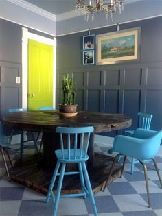 Custom Table Pads for Dining Room Tables : Unique Dining Room Design With Rustic Pedestal Dark Wooden Dining Table And Blue Chairs Combine With Bright Green Door And Glass Chandelier Also Gray Blue Rug Floor
