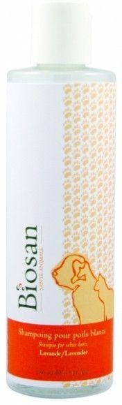 BIOSAN SHAMPOING LAVANDE - Pelage blanc 250ml - Doux pour la peau le poil et les mains du toiletteur. Pour usage fréquent. Aucun parfum fragrance chimique. Contient des huiles essentielles. Produit écoresponsable. Ravive la couleur des pelages blancs.