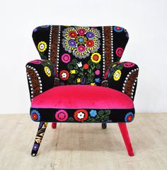 Suzani armchair pink candy by namedesignstudio on Etsy