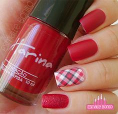 Unhas para Festa Junina Manicure, Nails, Nail Designs, Nail Polish, Lipstick, Nail Art, How To Make, Beauty, Miniature
