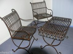 FRENCH garden set 2 chairs 1 coffee table New in Box wrought iron