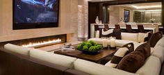 modern living room : sectional : fireplace