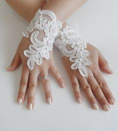 Bridal gloves lace gloves Bridal accessories by WEDDINGHome, $35.00