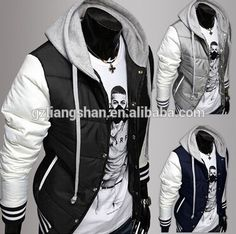 2015 New OEM Fashion Wholesale Men's Leisure Hooded Spell Color Baseball Style Coat Winter Active Casual Parka Cotton Jacket