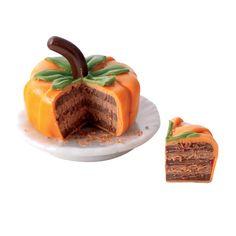 :: Crafty :: Clay ☾☾ Halloween ☾☾ Miniature Autumn Figure & Food ☾☾ Sliced Pumpkin Cake @ miniatures.com