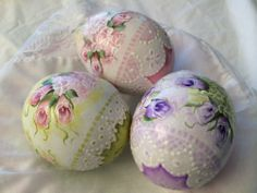 Hand Painted Easter Eggs Gourds Cottage Chic Roses Victorian Shabby HP Lace