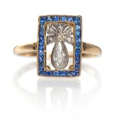 French Fantasy... Art Deco Sapphire and Diamond ring