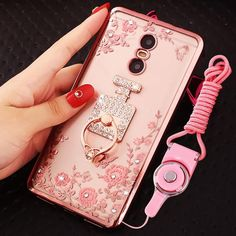 Xiaomi redmi note 4X case luxury rhinestone stand holder back cover for xiaomi redmi note 4x case silicone phone cases + Lanyard