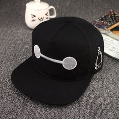 Black Kids Boy Girl Big Hero 6 Baymax Adjustable Snapback Baseball Cap Sun  Hat A   8365de33cc02