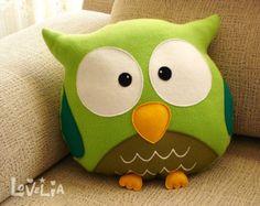COJÍN de búho verde RainbOWL - almohada peluche decorativo-