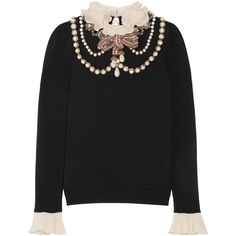 Gucci Ruffle-trimmed embellished wool-blend sweater (274445 RSD) ❤ liked on Polyvore featuring tops, sweaters, flounce tops, embellished sweaters, collared sweater, keyhole sweater and sparkly tops