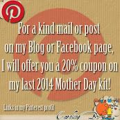 Caroline B - Google+If you send me a kind post, I will send you a kind 20% off coupon off my new 2014 Mother Day kit !!  http://carolineb.fr//index.php?main_page=product_info&cPath=148_65&products_id=373
