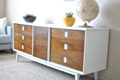 6 mid-century modern dresser makeovers - add legs to a dresser, give it a paint job and new hardware...boom. this is happening