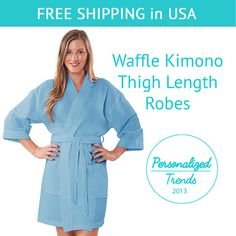 This elegant kimono styled spa robe is designed to provide the utmost in cozy comfort and style. The light and soft waffle spa robe adds a light layer over nightwear. The personalized robes make for a quality gift that your bridesmaids will enjoy well after your wedding day!  !!! VERY IMPORTANT!!! Please be sure that you order the SIZE and the COLOR correctly. You will be not able to change the size and the color after you check out.  If you order a customized item, you will be sent an…