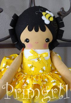 Bumble+Bees+on+Yellow+Black+Plush+Fabric+Cloth+Doll+by+primgrl1,+$47.00