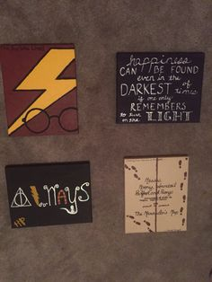 A set of 4 harry potter minimalist hand painted acrylic canvas diy harry potter canvases super easy to make and pretty inexpensive solutioingenieria Image collections