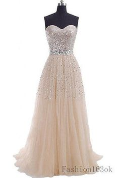 Champagne Sparkling Prom Dress Long Evening Dress Party Dress In Stock US 2-16
