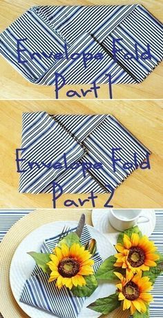 Napkin folding; insert candy bar or other favor.