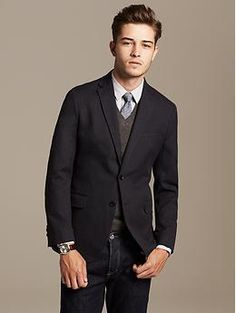Tailored-Fit Charcoal Cotton Blazer | Banana Republic