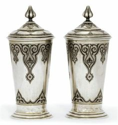 Pair of silver with niello geometric decorations and gilt interiors beakers by EE, Moscow, Russia 1850