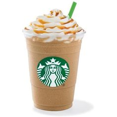 Caramel Frappuccino ❤ liked on Polyvore featuring food, food and drink, drinks, filler and starbucks