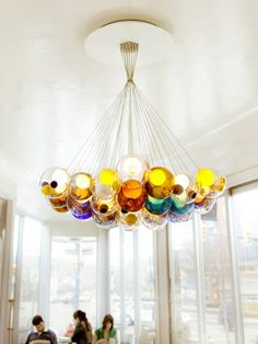 Glass ball chandelier by Bocci