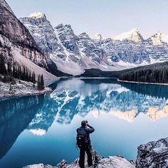 The captivating grandeur of Moraine Lake, Alberta for – photo by La grandeur captivante du lac Moraine en Alberta pour – photo prise par Adventure Awaits, Adventure Travel, Banff National Park, National Parks, The Places Youll Go, Places To See, Lago Moraine, Rivers And Roads, Destinations