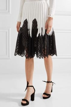 Oscar de la Renta - Pleated Stretch-knit And Lace Skirt - Ivory - large
