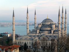 Istanbul, Turkey. the blue mosque.  It was so beautiful when it was lit up at night!