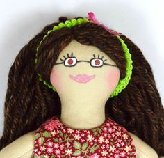 Brown Haired Girl Doll With Glasses - Toy - For Kids Or Adults - Handmade Toys For Girls, Gifts For Girls, Kids Toys, African American Dolls, Presents For Kids, Dress Up Dolls, Asian Doll, Cat Doll, Doll Maker