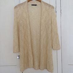 Nic + Zoe sequin cardigan Nice cream cardigan with light sequin Anthropologie Sweaters Cardigans