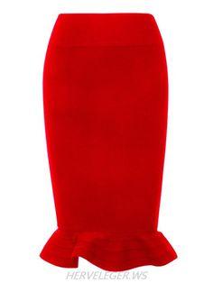 Herve Leger Red Flared Hem Bandage Skirt