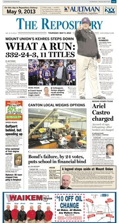 Mount Union football coach Larry Kehres announced his retirement on the front page of The Repository on May 9, 2013.
