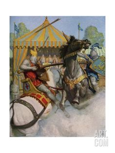 Illustration of Sir Mador Jousting with an Opponent Giclee Print by Newell Convers Wyeth at Art.com