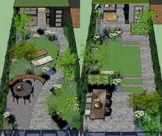 Back Garden Design, Garden Design Plans, Small Backyard Design, Modern Garden Design, Backyard Garden Design, Small Backyard Landscaping, Narrow Backyard Ideas, Small Garden Landscape, Landscape Design Plans