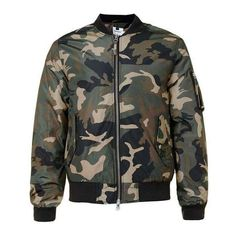 Green Camo MA1 Bomber Jacket (€78) ❤ liked on Polyvore featuring outerwear, jackets, tops, coats & jackets, camo print jacket, camo bomber jacket, green jacket, flight jacket and green camo jacket