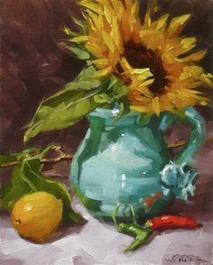 """Daily Paintworks - """"Sunflower In Turquoise"""" - Original Fine Art for Sale - ©…"""