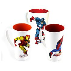 Marvel Characters 3D Mug Set - featuring Captain America, Iron Man, and Spider-Man. Each mug holds 18 oz.