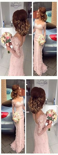 Elegant Long Sleeves Prom Dress, Lace Mermaid Evening Dress, Square Neck Long Prom Dress#promdress #promgown #prom #dress #gown #longpromdress #simplepromgown #charmingpartydress #eleganteveningdress #promdress #pinkpromgown #RosyProm