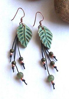 Leather Jewelry, Wire Jewelry, Jewelry Crafts, Beaded Jewelry, Jewelery, Beaded Earrings, Earrings Handmade, Handmade Jewelry, Leaf Earrings