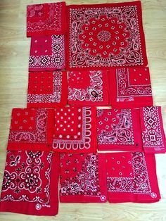 Lot of 12 bandanas red made in usa vtg fast color Red Bandana, Bandana Print, 4 Hunnid, Bedford Street, Blood Art, Bandana Design, Elephant Trunk, Bandana Styles, Swag Outfits