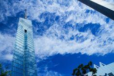 Fukuoka Tower and it's srounding architectures stock photo