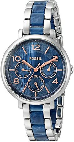 Women's Wrist Watches - Fossil Womens ES4011 Jacqueline Multifunction Stainless Steel and Acetate Watch -- Continue to the product at the image link.