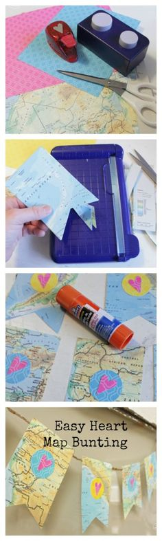 Easy DIY Heart Map Bunting at The Happy Housie