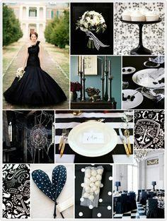 Mariage glamour en noir et blanc