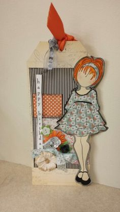 Prima doll tag. Love these stamps. They are my faves right now!!!!