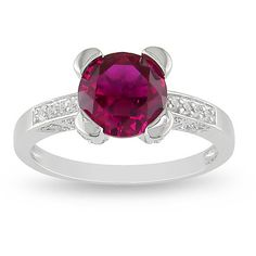 M by Miadora Sterling Silver Created Ruby and Cubic Zirconia Ring ($35) ❤ liked on Polyvore featuring jewelry, rings, red, sterling silver band rings, round cut rings, sterling silver cubic zirconia rings, long sterling silver rings and sterling silver jewelry
