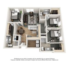 Village Promenade - Three Bedroom. Love this layout and don't have two other roommates in mind?! No worries! We have roommate matching at no additional charge!