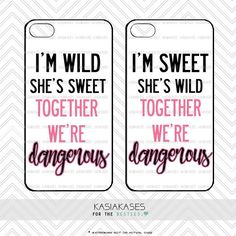 Sweet and Wild bff Case / Dangerous Together Best Friends Cute Trendy iPhone 6 Plus, Samsung Set of 2 Cases. Where is my new iPhone? I don't see it anywhere in the house! Oh wait, it's still at the store! Thanks mom! Bff Iphone Cases, Bff Cases, Funny Phone Cases, Ipod Cases, Diy Phone Case, Iphone Phone Cases, Best Friend Cases, Friends Phone Case, Best Friend Stuff