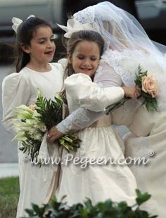 Ivory and toffee silk flower girl dress with long sleeves by Pegeen.com
